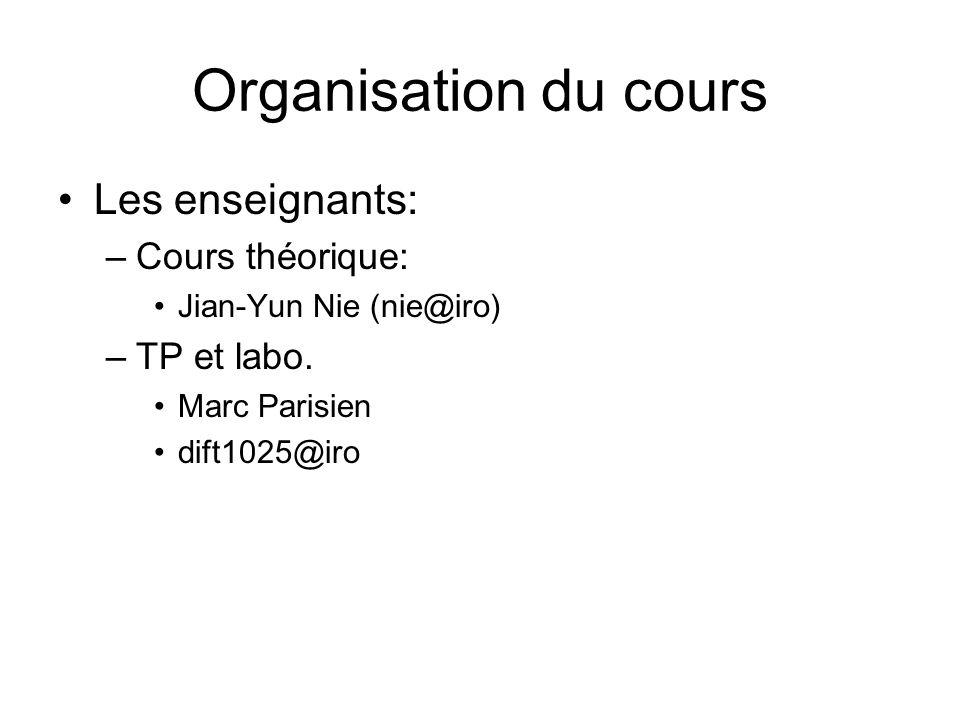 Organisation du cours Les enseignants: Cours théorique: TP et labo.