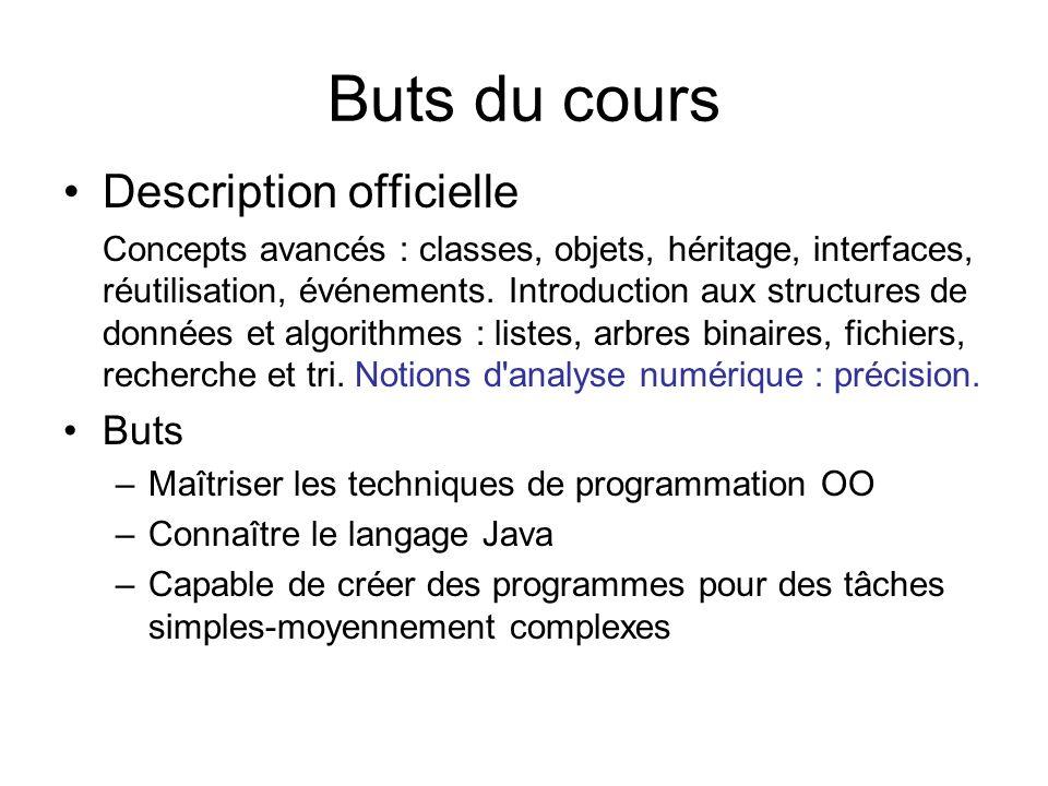 Buts du cours Description officielle Buts
