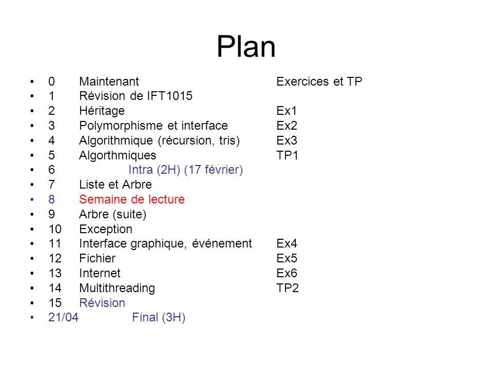 Plan 0 Maintenant Exercices et TP 1 Révision de IFT1015 2 Héritage Ex1