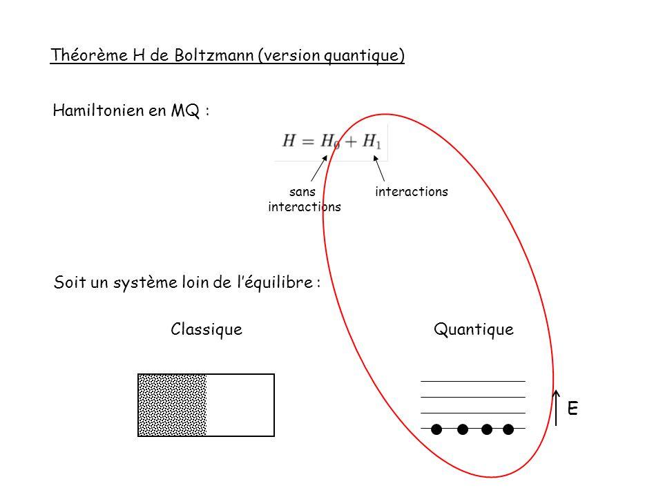 E Théorème H de Boltzmann (version quantique) Hamiltonien en MQ :