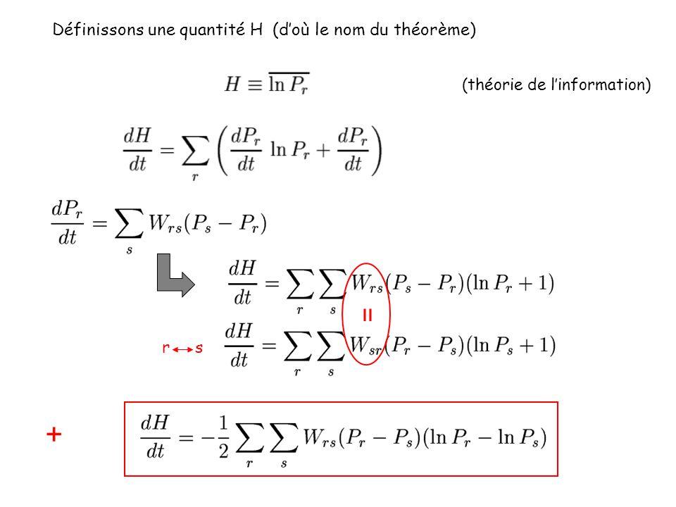 + = Définissons une quantité H (d'où le nom du théorème) r s