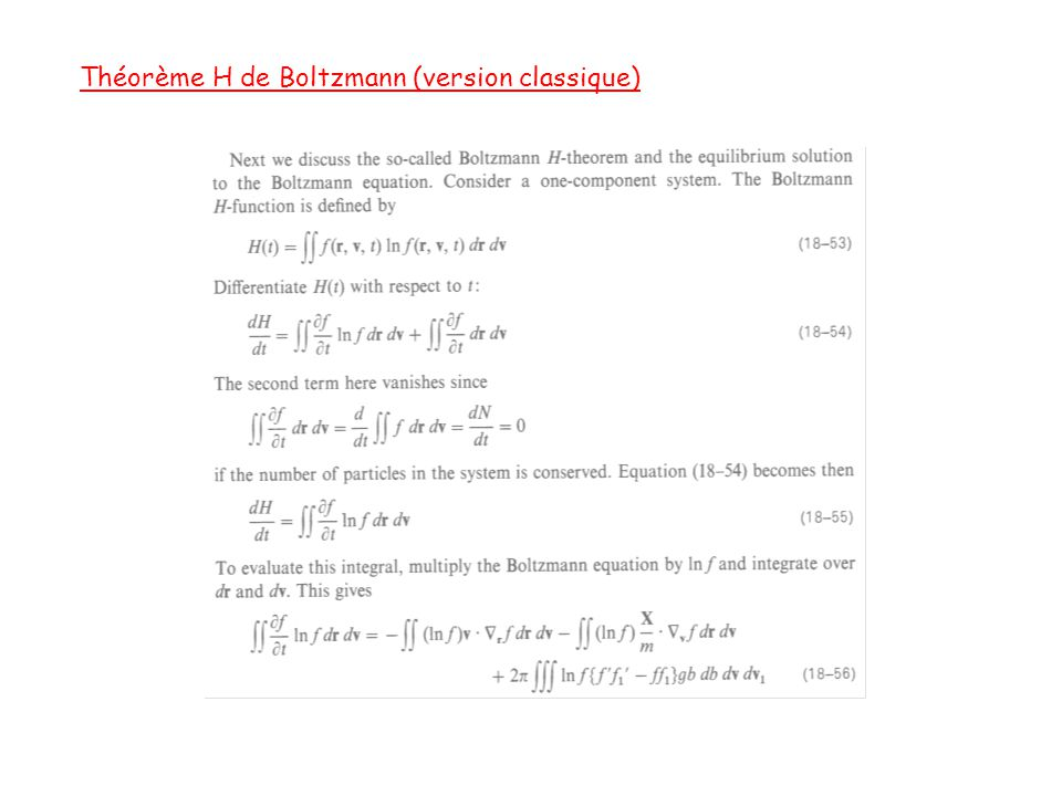 Théorème H de Boltzmann (version classique)