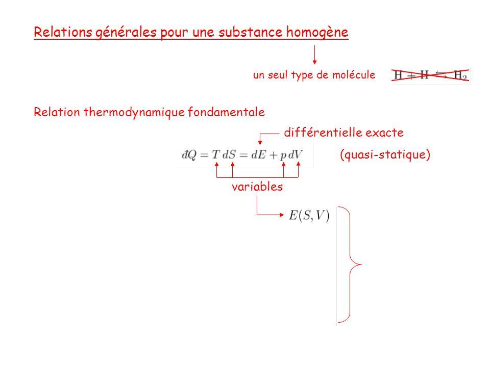 Relations générales pour une substance homogène