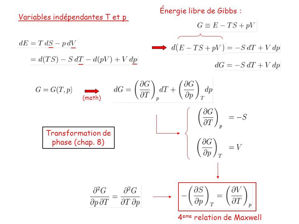 Énergie libre de Gibbs : Variables indépendantes T et p