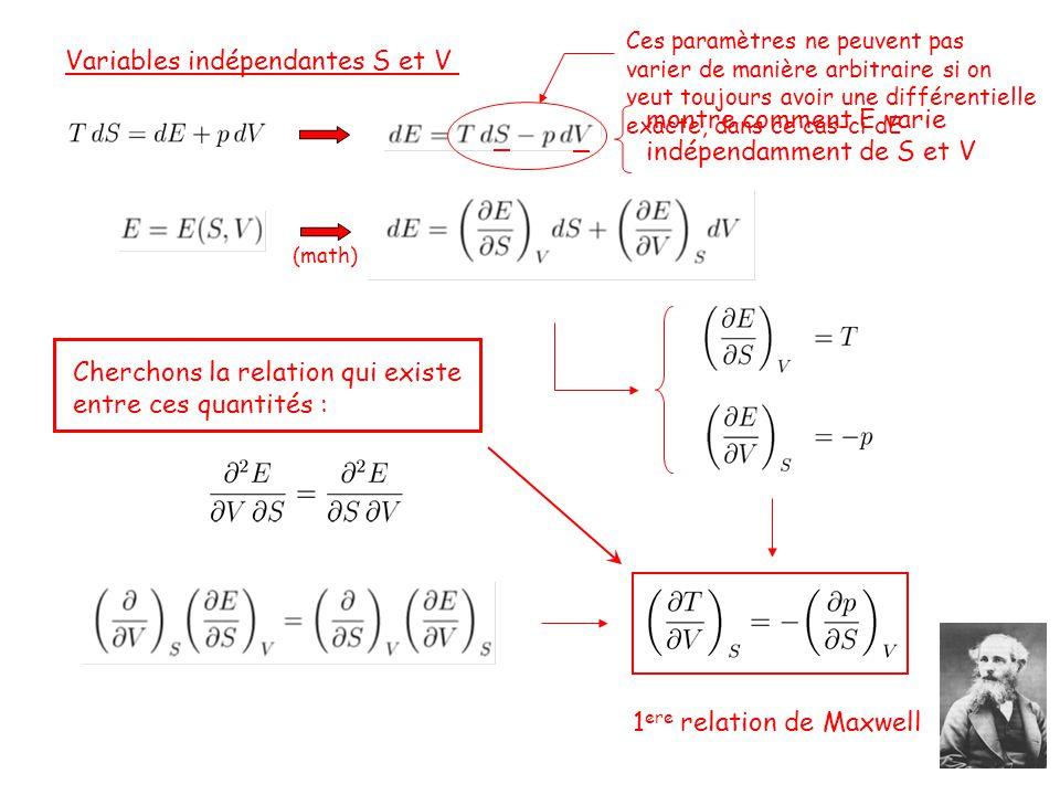 Variables indépendantes S et V