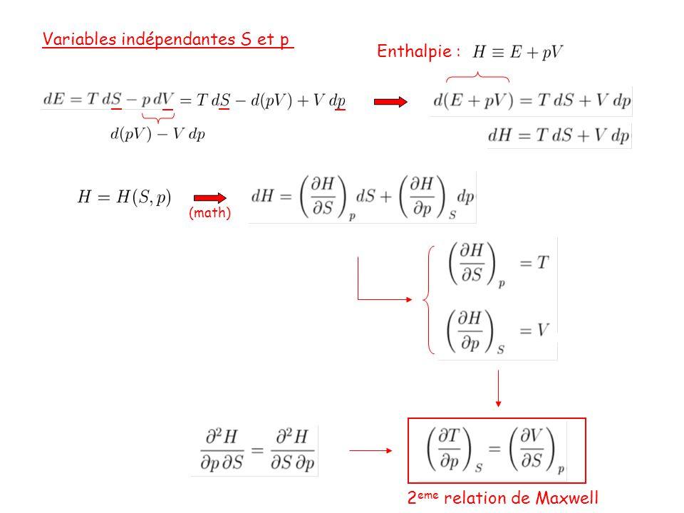 Variables indépendantes S et p Enthalpie :
