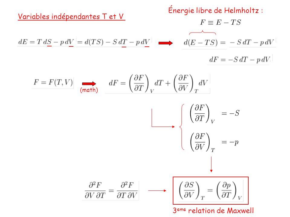 Énergie libre de Helmholtz : Variables indépendantes T et V
