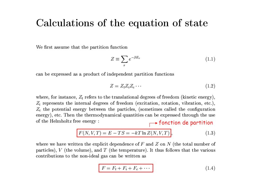 EOS calculation fonction de partition