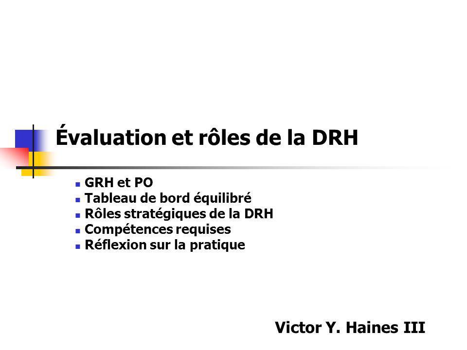 Évaluation et rôles de la DRH