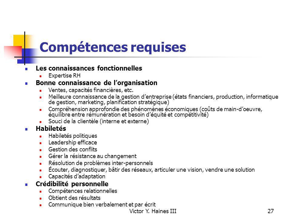Compétences requises Les connaissances fonctionnelles