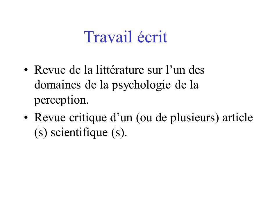 Travail écrit Revue de la littérature sur l'un des domaines de la psychologie de la perception.
