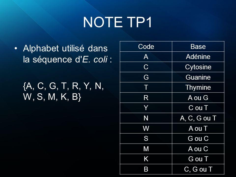 NOTE TP1 Alphabet utilisé dans la séquence d E. coli :