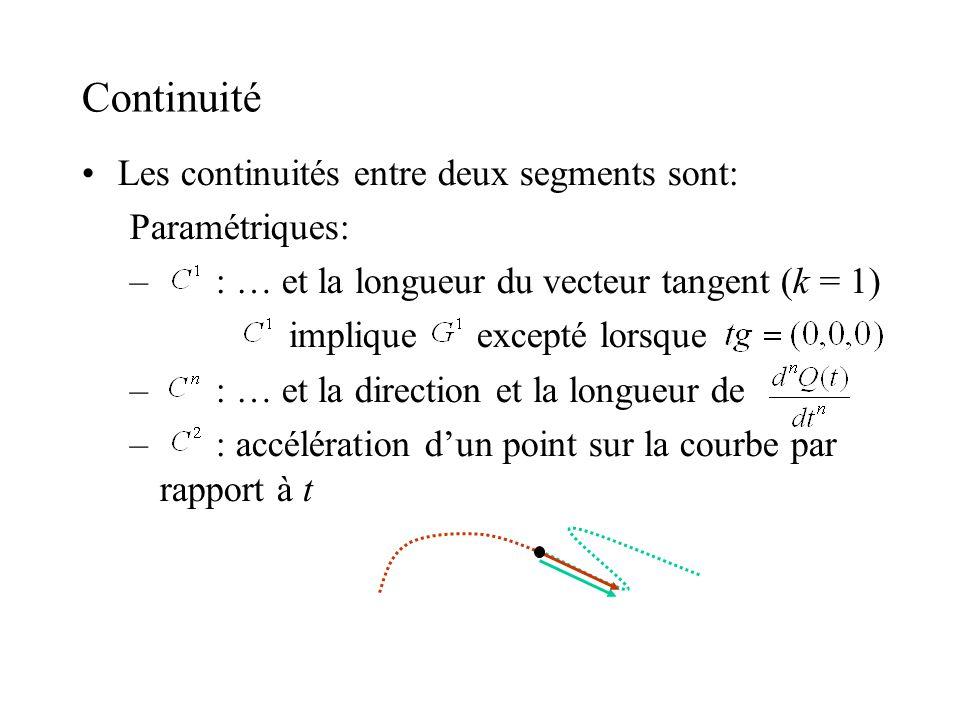 Continuité Les continuités entre deux segments sont: Paramétriques: