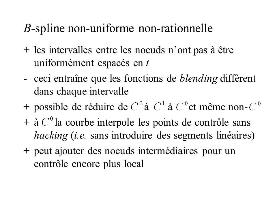 B-spline non-uniforme non-rationnelle