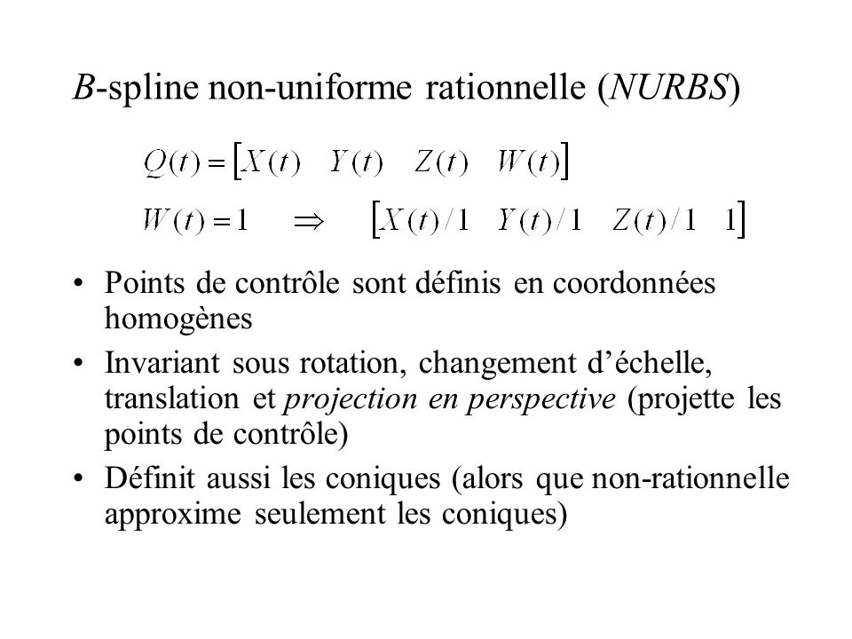 B-spline non-uniforme rationnelle (NURBS)‏