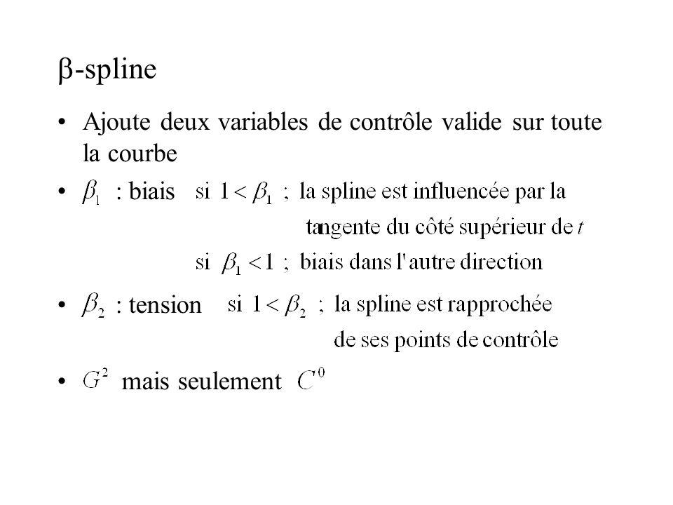 -spline Ajoute deux variables de contrôle valide sur toute la courbe