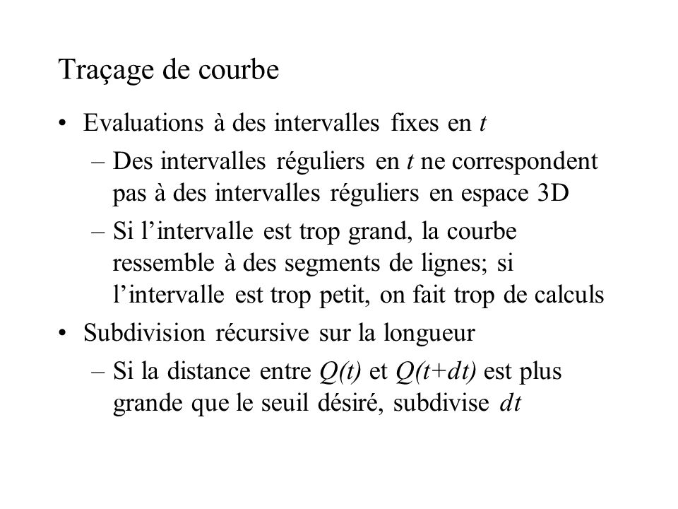 Traçage de courbe Evaluations à des intervalles fixes en t