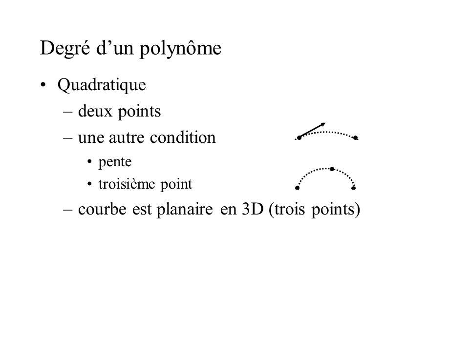 Degré d'un polynôme Quadratique deux points une autre condition