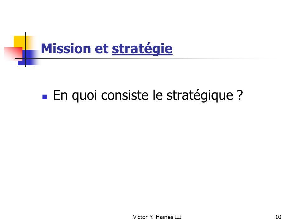En quoi consiste le stratégique