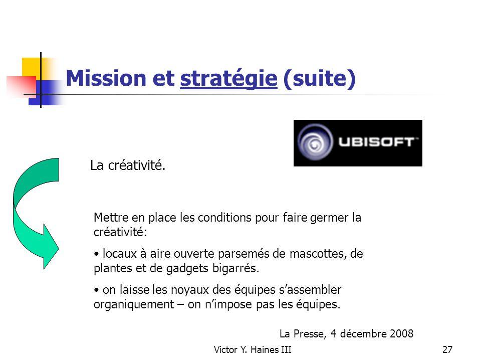Mission et stratégie (suite)