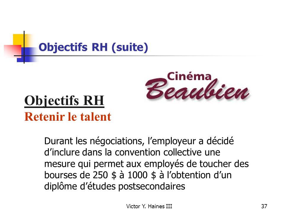 Objectifs RH Retenir le talent Objectifs RH (suite)