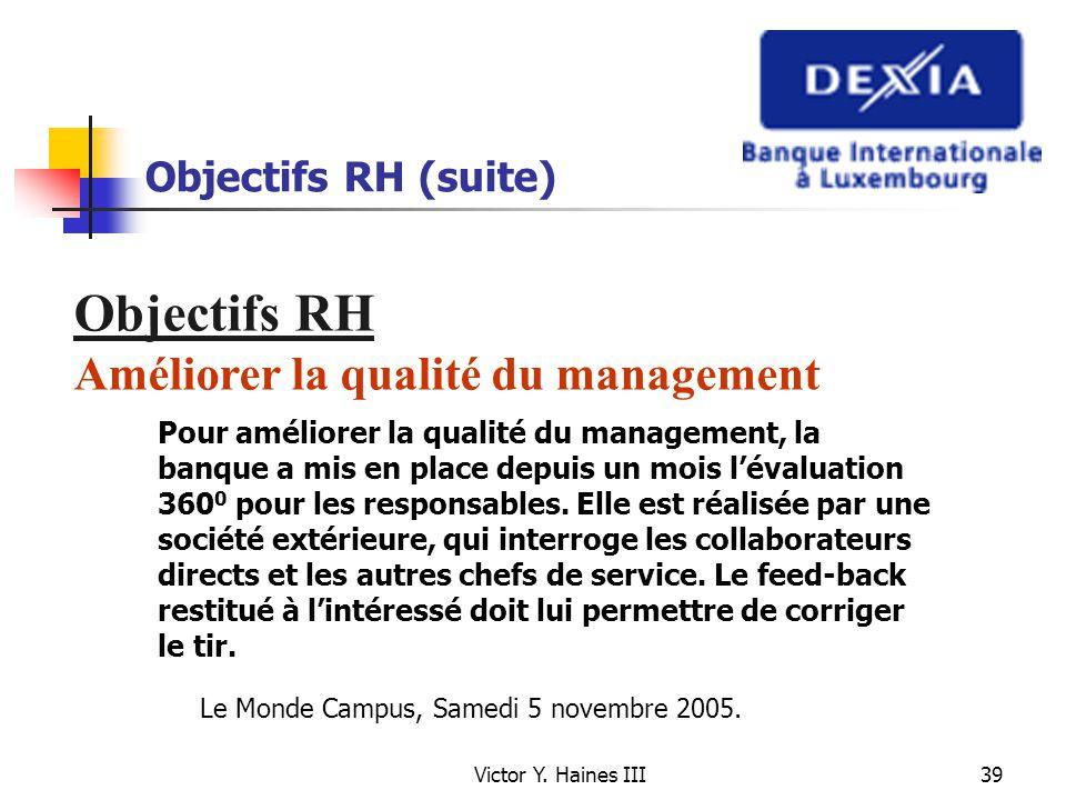Objectifs RH Améliorer la qualité du management Objectifs RH (suite)