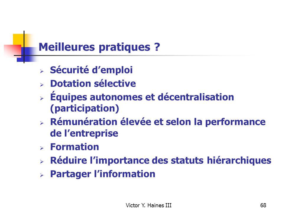 Meilleures pratiques Sécurité d'emploi Dotation sélective