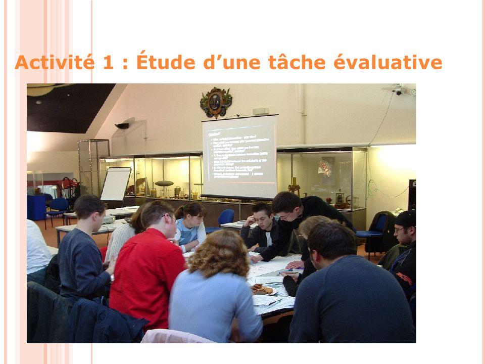 Activité 1 : Étude d'une tâche évaluative