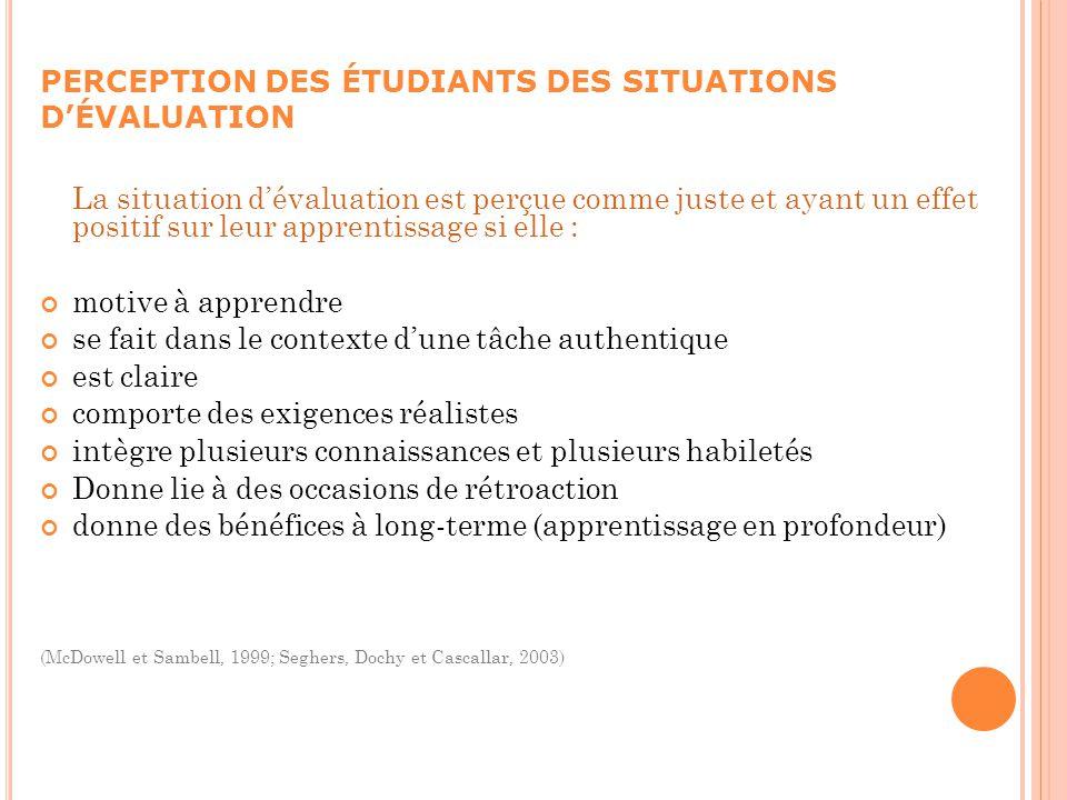PERCEPTION DES ÉTUDIANTS DES SITUATIONS D'ÉVALUATION
