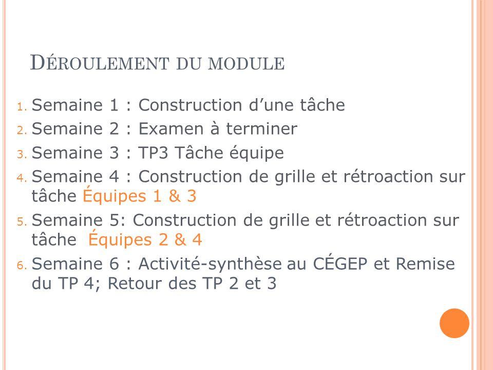 Déroulement du module Semaine 1 : Construction d'une tâche