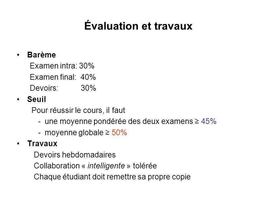 Évaluation et travaux Barème Examen intra: 30% Examen final: 40%