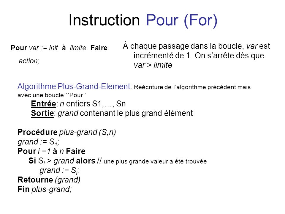 Instruction Pour (For)
