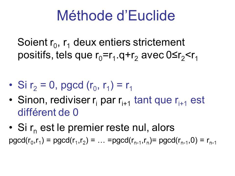Méthode d'Euclide Soient r0, r1 deux entiers strictement positifs, tels que r0=r1.q+r2 avec 0≤r2<r1.