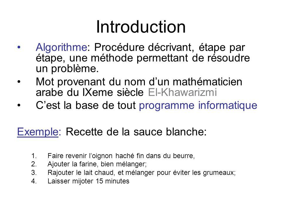 Introduction Algorithme: Procédure décrivant, étape par étape, une méthode permettant de résoudre un problème.