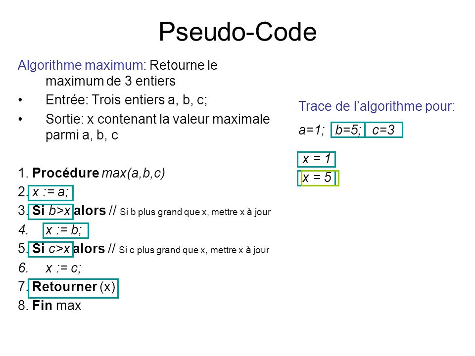 Pseudo-Code Algorithme maximum: Retourne le maximum de 3 entiers