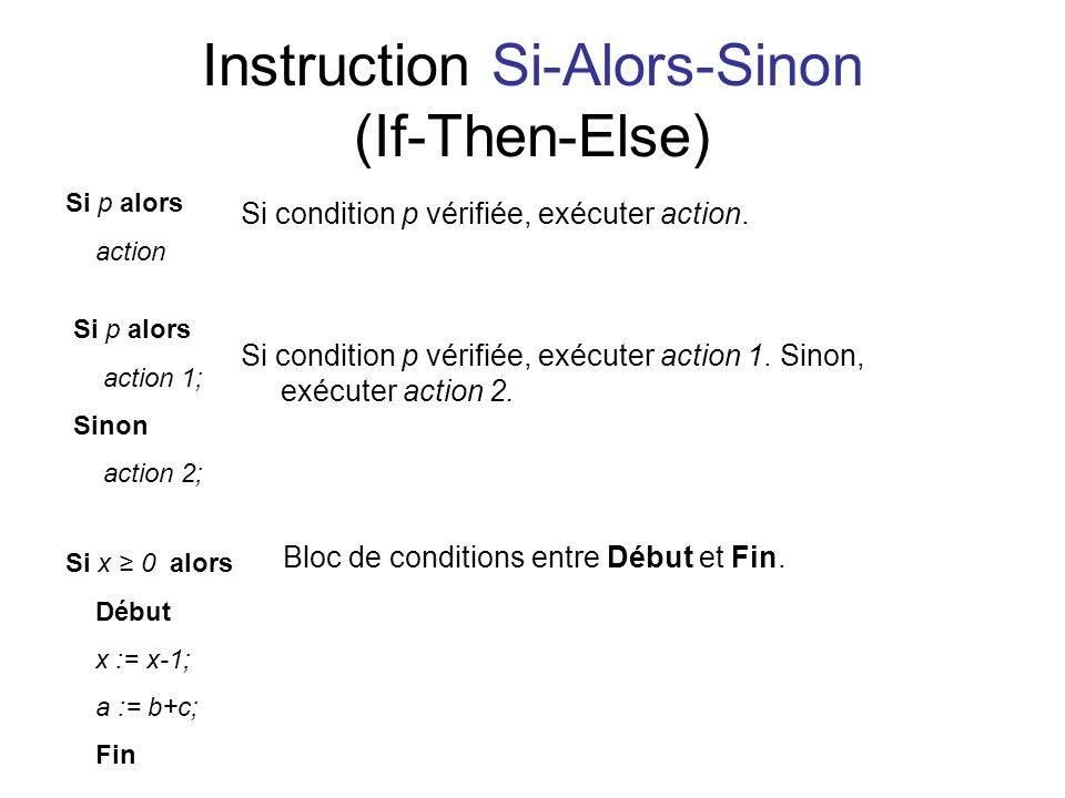Instruction Si-Alors-Sinon (If-Then-Else)