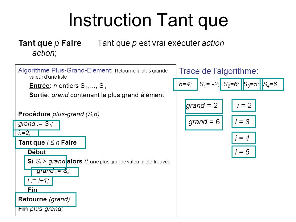 Instruction Tant que Tant que p Faire action;