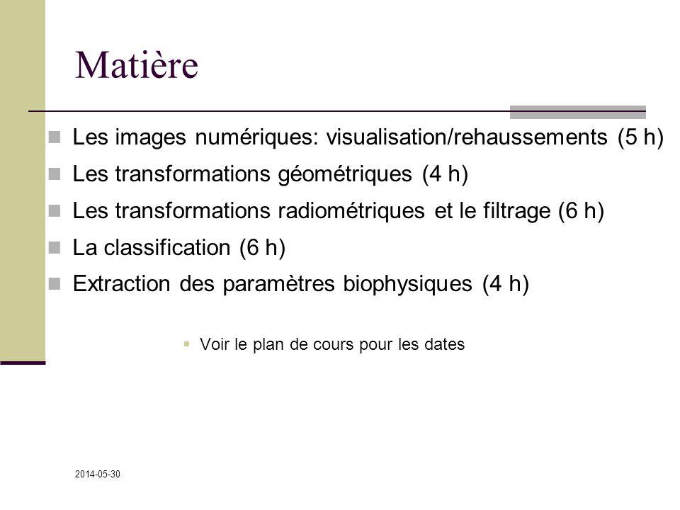 Matière Les images numériques: visualisation/rehaussements (5 h)