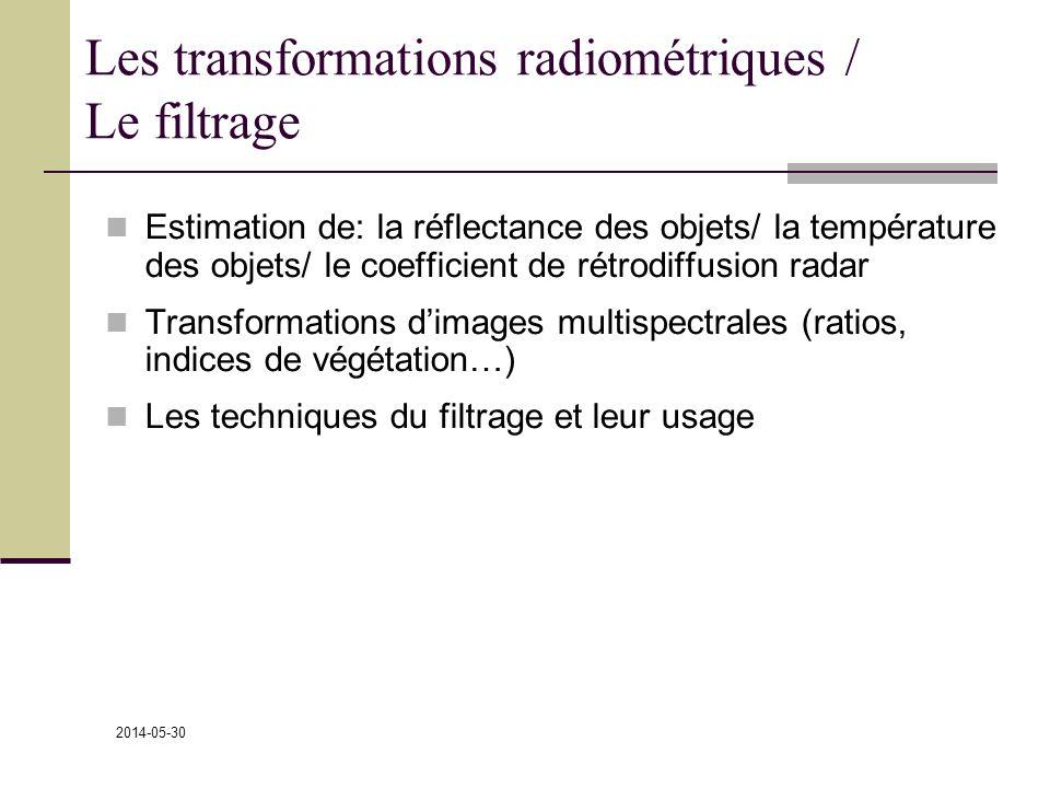 Les transformations radiométriques / Le filtrage
