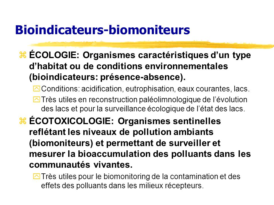 Bioindicateurs-biomoniteurs