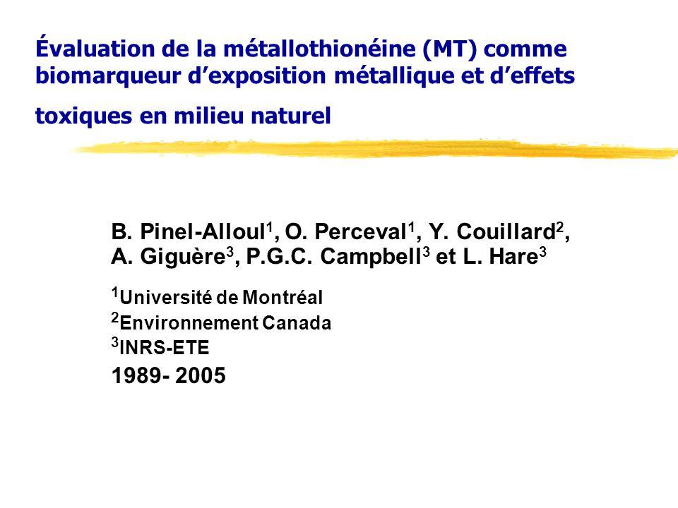 Évaluation de la métallothionéine (MT) comme biomarqueur d'exposition métallique et d'effets toxiques en milieu naturel