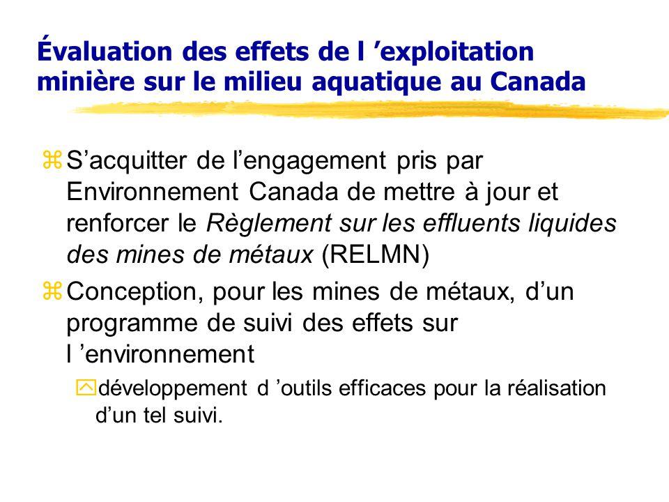 Évaluation des effets de l 'exploitation minière sur le milieu aquatique au Canada