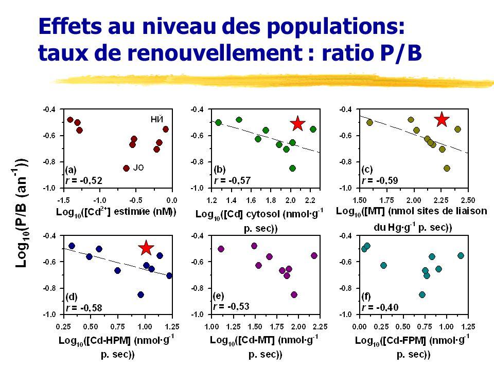 Effets au niveau des populations: taux de renouvellement : ratio P/B