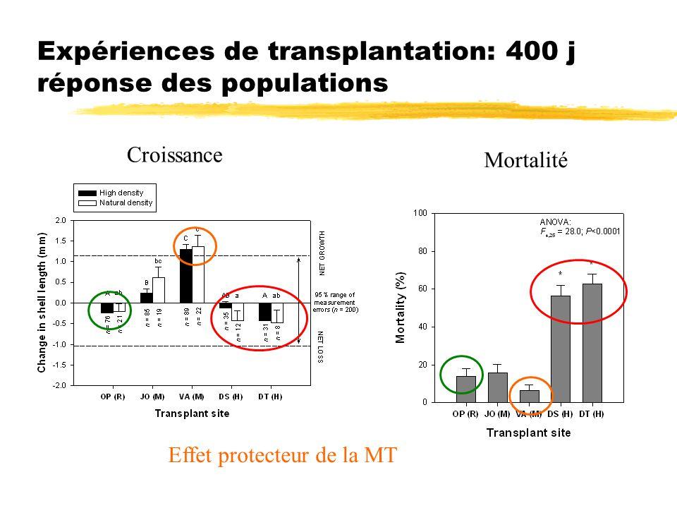 Expériences de transplantation: 400 j réponse des populations
