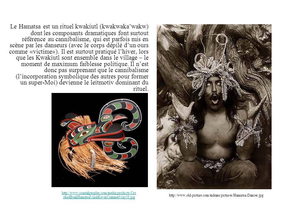 Le Hamatsa est un rituel kwakiutl (kwakwaka'wakw) dont les composants dramatiques font surtout référence au cannibalisme, qui est parfois mis en scène par les danseurs (avec le corps dépilé d'un ours comme «victime»). Il est surtout pratiqué l'hiver, lors que les Kwakiutl sont ensemble dans le village – le moment de maximum faiblesse politique. Il n'est donc pas surprenant que le cannibalisme (l'incorporation symbolique des autres pour former un super-Moi) devienne le leitmotiv dominant du rituel.