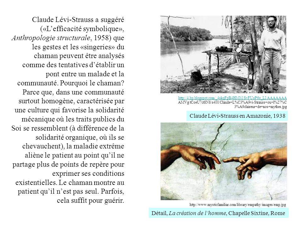 Claude Lévi-Strauss a suggéré («L'efficacité symbolique», Anthropologie structurale, 1958) que les gestes et les «singeries» du chaman peuvent être analysés comme des tentatives d'établir un pont entre un malade et la communauté. Pourquoi le chaman Parce que, dans une communauté surtout homogène, caractérisée par une culture qui favorise la solidarité mécanique où les traits publics du Soi se ressemblent (à différence de la solidarité organique, où ils se chevauchent), la maladie extrême aliène le patient au point qu'il ne partage plus de points de repère pour exprimer ses conditions existentielles. Le chaman montre au patient qu'il n'est pas seul. Parfois, cela suffit pour guérir.