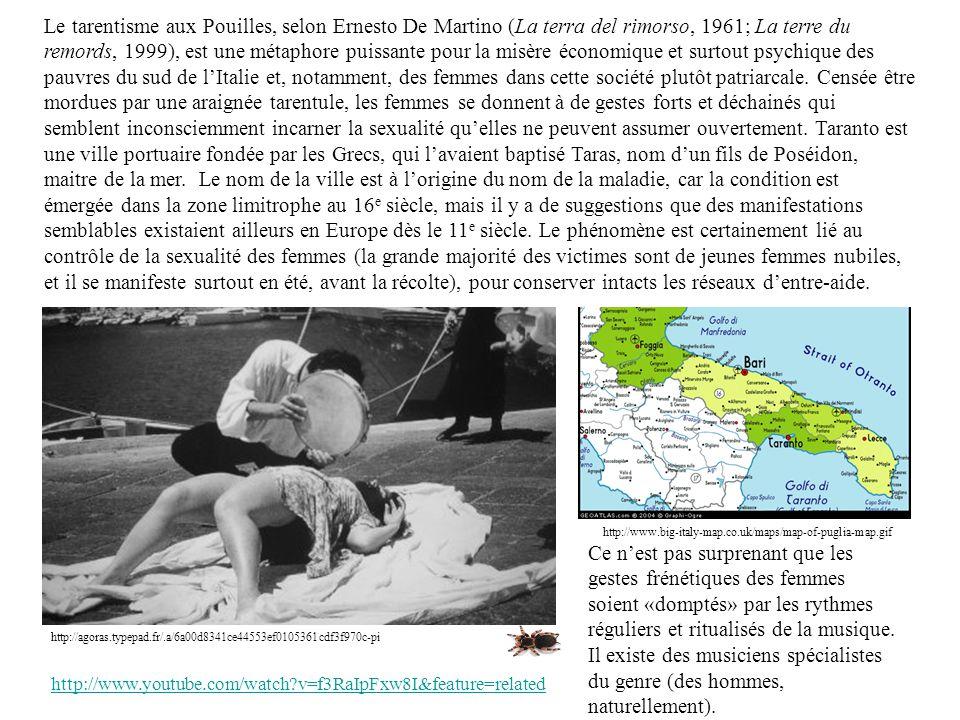 Le tarentisme aux Pouilles, selon Ernesto De Martino (La terra del rimorso, 1961; La terre du remords, 1999), est une métaphore puissante pour la misère économique et surtout psychique des pauvres du sud de l'Italie et, notamment, des femmes dans cette société plutôt patriarcale. Censée être mordues par une araignée tarentule, les femmes se donnent à de gestes forts et déchainés qui semblent inconsciemment incarner la sexualité qu'elles ne peuvent assumer ouvertement. Taranto est une ville portuaire fondée par les Grecs, qui l'avaient baptisé Taras, nom d'un fils de Poséidon, maitre de la mer. Le nom de la ville est à l'origine du nom de la maladie, car la condition est émergée dans la zone limitrophe au 16e siècle, mais il y a de suggestions que des manifestations semblables existaient ailleurs en Europe dès le 11e siècle. Le phénomène est certainement lié au contrôle de la sexualité des femmes (la grande majorité des victimes sont de jeunes femmes nubiles, et il se manifeste surtout en été, avant la récolte), pour conserver intacts les réseaux d'entre-aide.