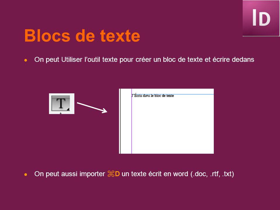 Blocs de texte On peut Utiliser l'outil texte pour créer un bloc de texte et écrire dedans.