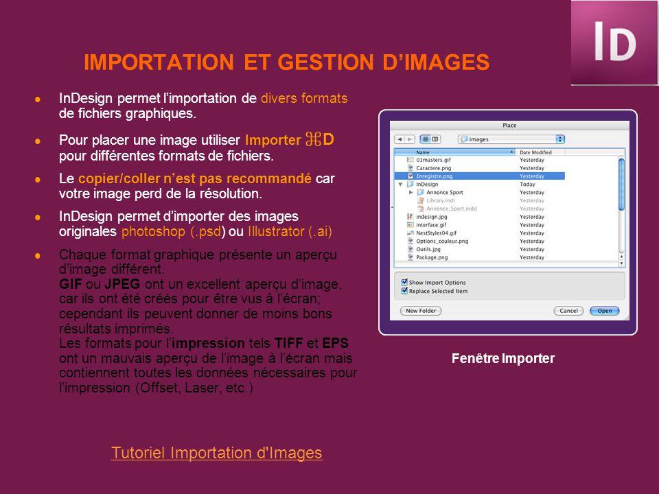 IMPORTATION ET GESTION D'IMAGES