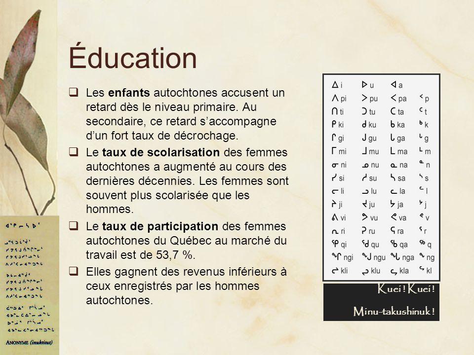 Éducation Les enfants autochtones accusent un retard dès le niveau primaire. Au secondaire, ce retard s'accompagne d'un fort taux de décrochage.